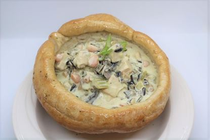 Chicken Wild Rice Soup (Low Carb) with Bread Bowls